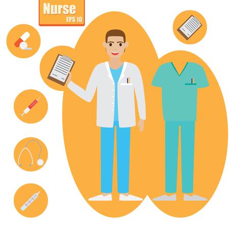 Nurse essential kit vector illustration. Set of nurse supplies.