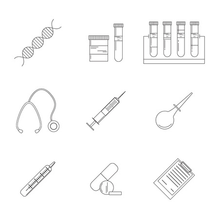 Medical and healthcare design element. Medical illustration made in line style vector.