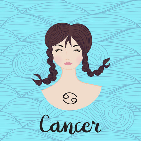Illustration of cancer zodiac sign as a young beautiful girl. Vector illustration.