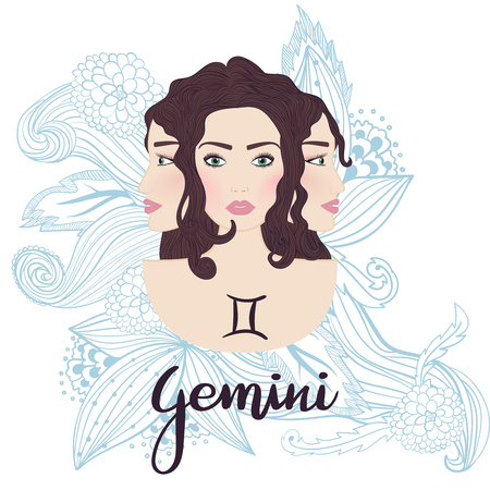 Illustration of gemini zodiac sign as a beautiful girl with 3 faces. Vector illustration