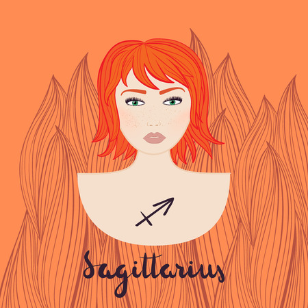 Sagittarius astrological sign. Vector illustration with portrait of a redhead girl