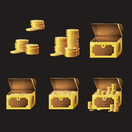 Set of game icons of gold coins and chests. Gui asset elements collection. Illusztráció