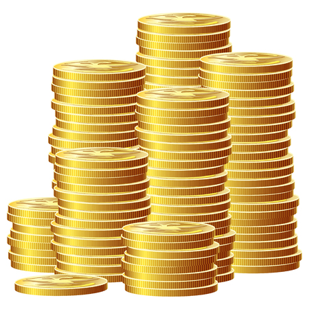 asset: Game icon of gold coins. Gui asset elements collection. Vector illustration isolated on white background.