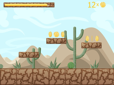 Mountain and desert seamless background illustration for mobile app, web, game with cactuses and game elements. Vector screen template with gui elements.