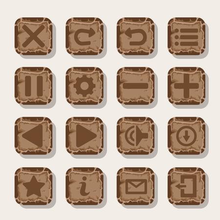 게임에 대 한 바위, 돌 아이콘의 집합입니다. 모바일 애플 벡터 아이콘 템플릿입니다.