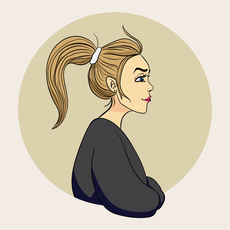 Profile of young beautiful woman with messy ponytail in a circle. Cartoon color vector illustration.