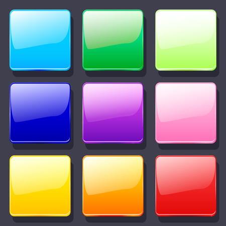 blank button: Set of colorful vector glass icons. Background for the app icons. Illustration