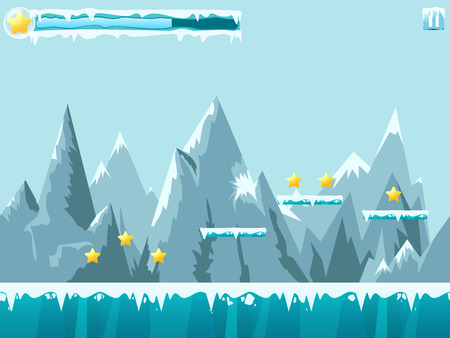 Mountain seamless background illustration for mobile app, web, game with snow and ice. Vector template with gui elements.