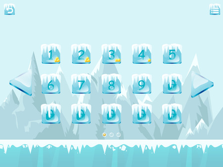 icy: Choose level screen vector template for winter icy game with element and icons. Illustration