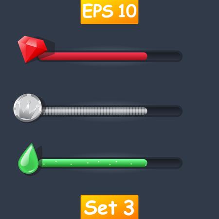 Set of vector game resource bar. Cartoon diamond, silver coin and magic potion or some liquids. Ilustração