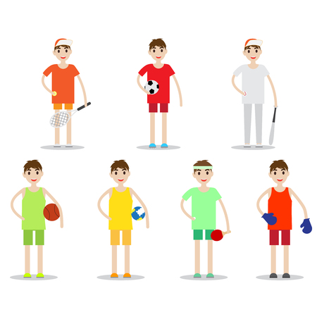 Set of sporty boys isolated on white background. Kind of sports vector collection.