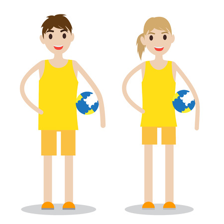 Set of sporty boy and lady. Volleyball players isolated on white background.