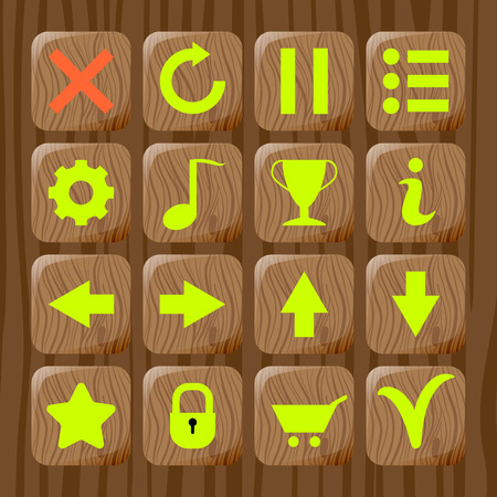 Set of wooden icons on wooden textured background for game. Mobile app vector template