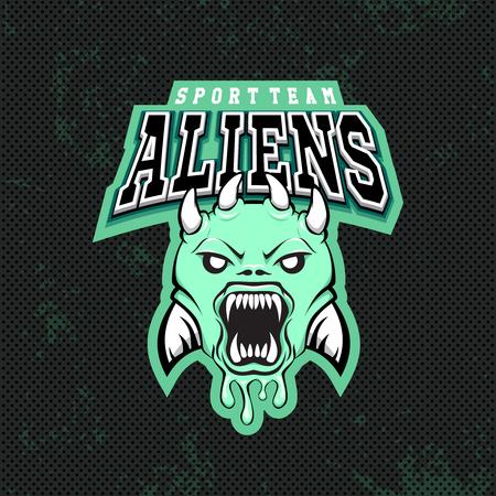 Green alien modern Illustration