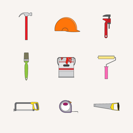 pictogramm: Vector collection of house construction and repair icons. Building, construction graphic design. Repair tools.