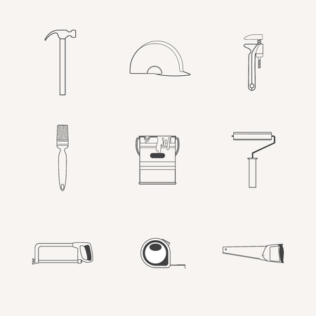 Vector collection of house construction and repair icons. Building, construction graphic design. Repair tools.