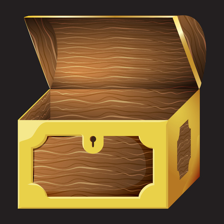 Game icon of chest for gold coins. Gui asset elements collection. Vector illustration isolated on black background.