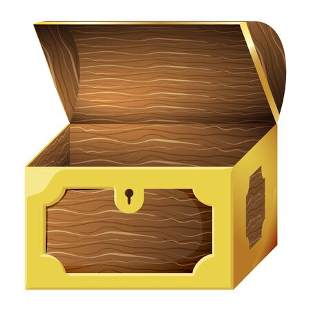 Game icon of chest for gold coins. Gui asset elements collection. Vector illustration isolated on white background.