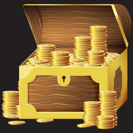 Game icon of gold coins in chest. Gui asset elements collection. Vector illustration isolated on black background.