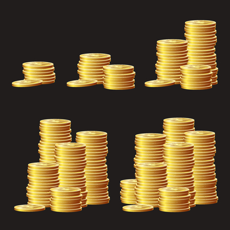 Set of game icons of gold coins. Gui asset elements collection.