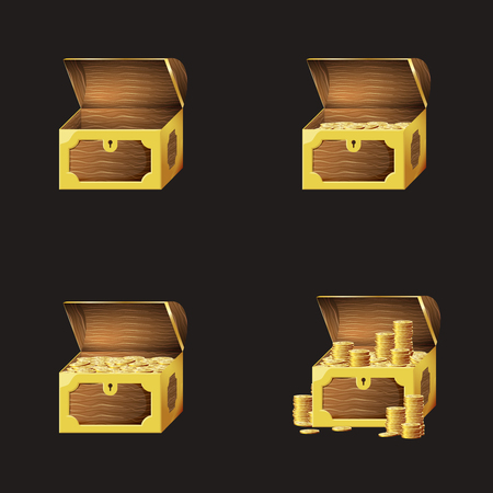 Set of game icons of gold coins in chests. Gui asset elements collection. Stock Illustratie