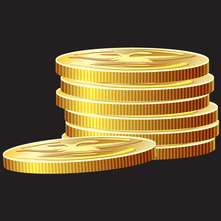 Game icon of gold coins. Gui asset elements collection. Vector illustration isolated on black background. Illusztráció