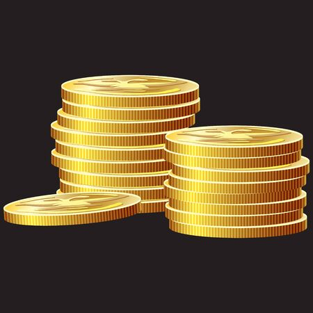 asset: Game icon of gold coins. Gui asset elements collection. Vector illustration isolated on black background. Illustration
