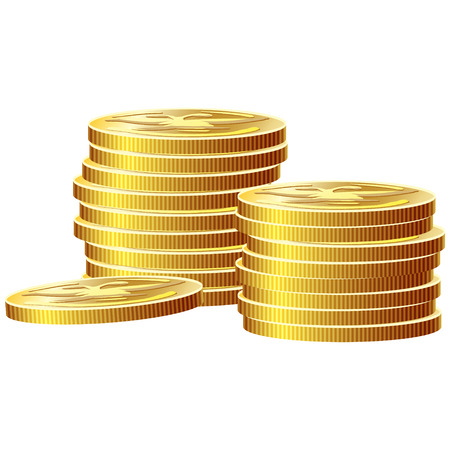 Game icon of gold coins. Gui asset elements collection. Vector illustration isolated on white background.
