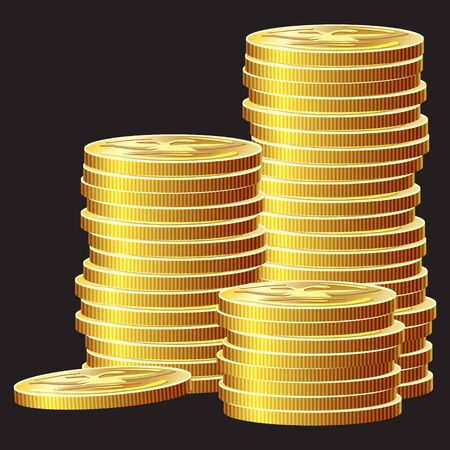 Game icon of gold coins. Gui asset elements collection. Vector illustration isolated on black background. Stock Illustratie