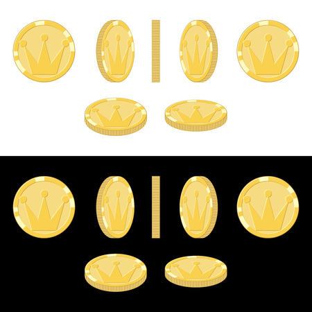 Set of game icons of gold coins. Coin rotation steps vector illustration. Game asset elements collection.