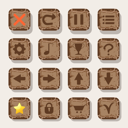 Set of rock, stone icons for game. Mobile app vector icons template. Illustration