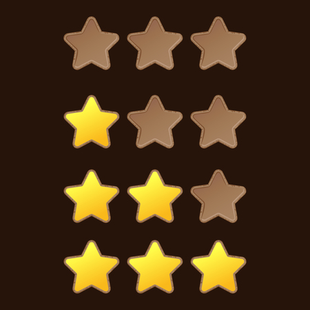 emty: Set of full and emty stars with rocky frame. Vector gui elements collection. Illustration