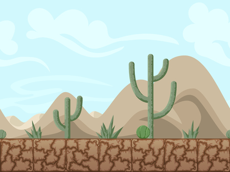 Mountain and desert seamless background illustration for mobile app, web, game with cactuses. Vector screen template.