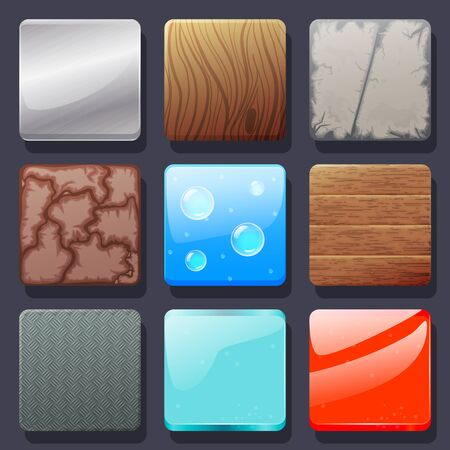 Set of colorful vector textured icons. Metallic, wooden, stone, water, icy jelly backgrounds for the app icons.