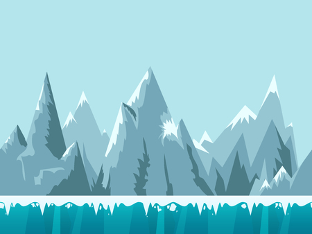 Mountain seamless background illustration for mobile app, web, game with snow and ice. Vector template.