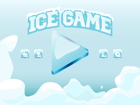 Main screen vector template for winter icy game with element and icons.