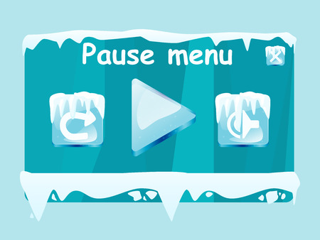 Pause menu window vector template for winter icy game with element and icons.