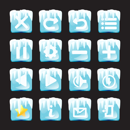 Set of ice and snow icons isolated on black background for game. Mobile app vector icons template.