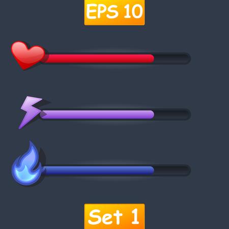 hoard: Set of vector game resource bar. Cartoon heart, purple lightning and magic fire.