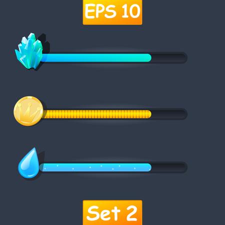 Set of vector game resource bar. Cartoon water drop, gold coin and magic crystals.