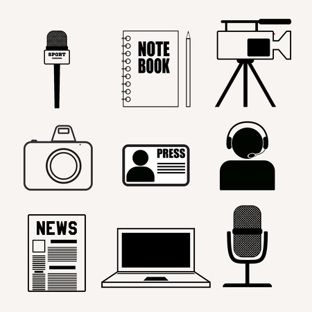 accreditation: Set of vector press and journalism icons. Modern flat vector signs.