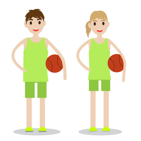 Set of sporty boy and lady. Basketball players isolated on white background.