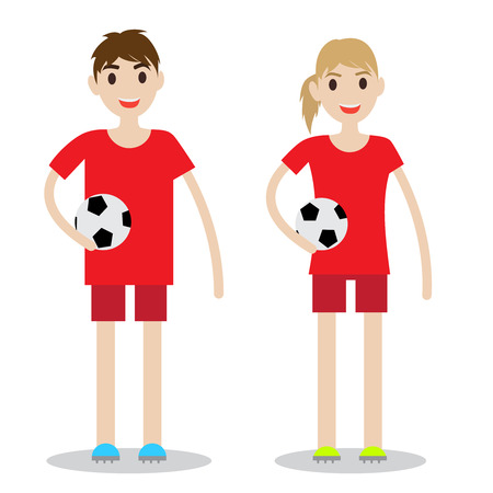 Set of sporty boy and lady. Soccer players isolated on white background. Illusztráció