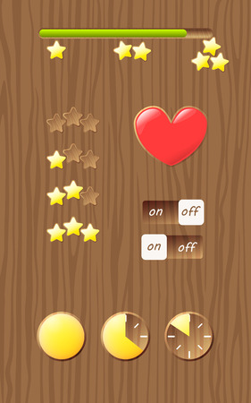 Wooden screen template with gui elements, progress bar. Design for mobile game, web Illustration