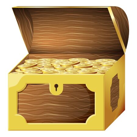 Game icon of gold coins in chest. Gui asset elements collection. Vector illustration isolated on white background. Illusztráció