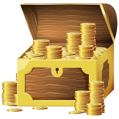 Game icon of gold coins in chest. Gui asset elements collection. Vector illustration isolated on white background. Illustration
