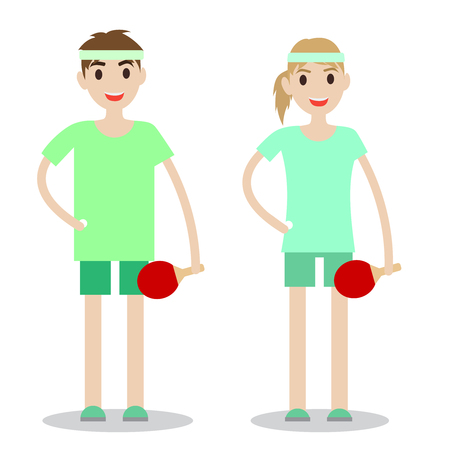 Set of sporty boy and lady. Table tennis players isolated on white background.