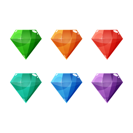 Set of six different color crystals, gemstones, gems, diamonds. Vector gui assets collection for game design isolated on white background. Illustration