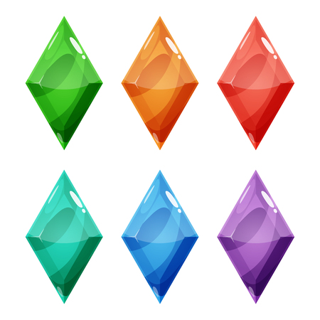 Set of six rhombus different color crystals, gemstones, gems, diamonds. Vector gui assets collection for game design isolated on white background.