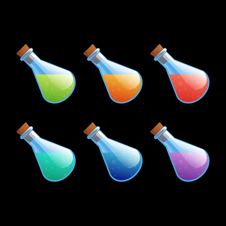 Set of different color bottles game icons. Cartoon vector illustration to create mobile or web games, graphic design. Asset for app user interface isolated on black background.